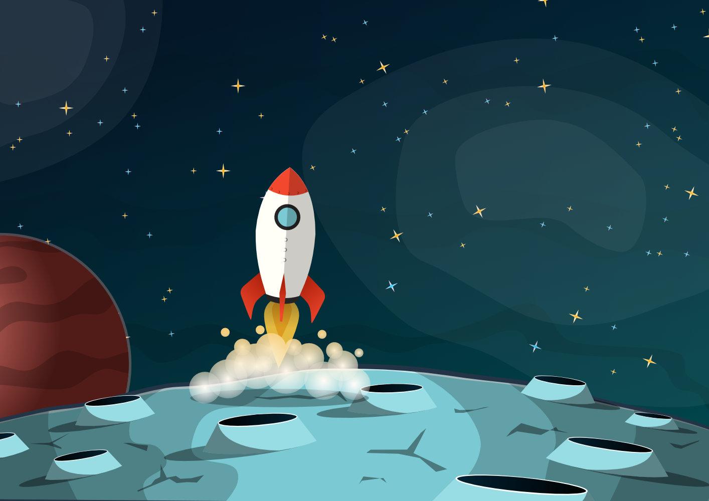 Cartoon space scene
